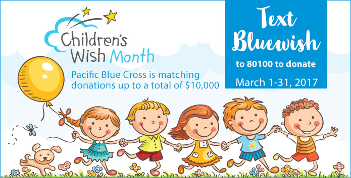 Text Bluewish - March is Children's Wish Month