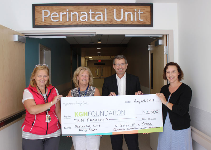 Left to right: Bonnie Wilkie (NICU Nurse Educator), Dr. Jill Boulton (Neonatologist), Doug Rankmore (CEO, Kelowna General Hospital Foundation), Christine Johnson (Board Member, Pacific Blue Cross Health Foundation)